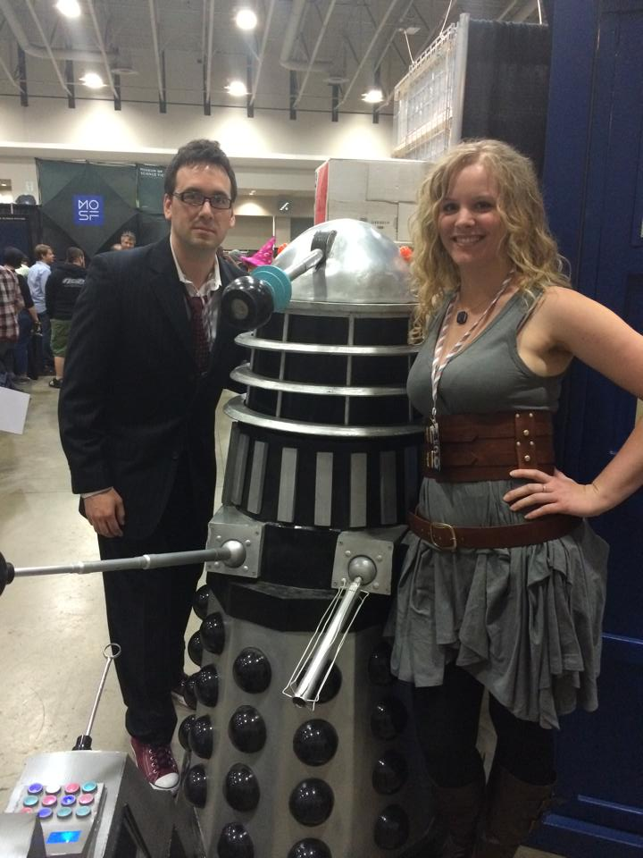 river song and the 10th doctor with dalek replica